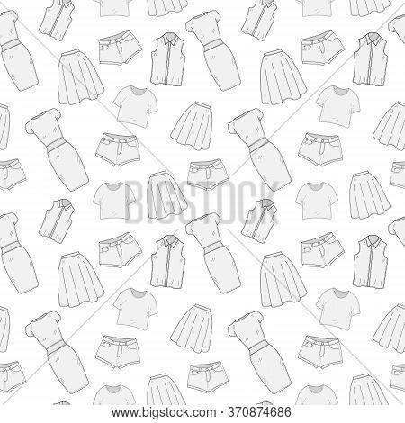 Womens Clothing Seamless Pattern Sketch. Clothes, Hand-drawing, Doodle Style. Clothing, Background.