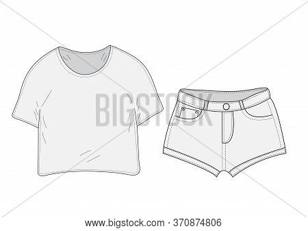 T-shirt And Shorts Set Sketch, Swag Style. Clothes, Hand-drawing, Doodle Style. Women Suit. Illustra