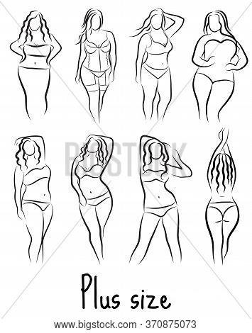 Set Girl Silhouette Sketch Plus Size Model. Curvy Woman Symbol. Illustration
