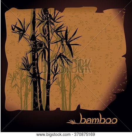 Abstract Oriental Vector Ink Landscape With Bamboo On Old Papyrus. Vector Silhouettes With Handwritt