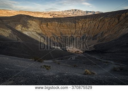 Death Valley Crater Volcanic Crater At Sunset