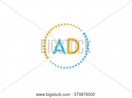 Initial Letter Ad Logo With Circle Element. Design Vector Illustration Template. Ad Letter Logo