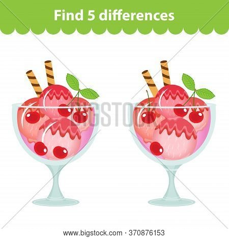 Childrens Educational Game. Find The 5 Differences In The Picture. Ice Cream Image For The Game Find
