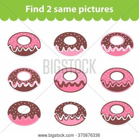 Childrens Educational Game. Find Two Same Pictures. Set Of Donuts For The Game Find Two Same Picture