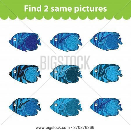 Childrens Educational Game. Find Two Same Pictures. Set Of Fish For The Game Find Two Same Pictures.
