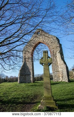 Ancient Monument. Church Ruins On Sacred Religious Ground. Wymondham Abbey Uk. History Of Religion T