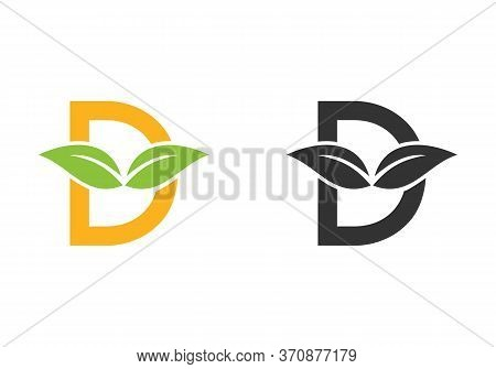 Leaf Letters D. D Logo Design With Green Leaves On A Branch. Letters A With Nature Concept.
