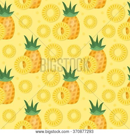 Pineapple Seamless Pattern. Ananas Slices Endless Background, Texture. Fruits Background. Illustrati