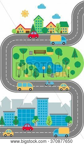 Flat City Urban Landscape. Cute Town Street With Downtown Business Buildings, Road, Suburb, Houses,