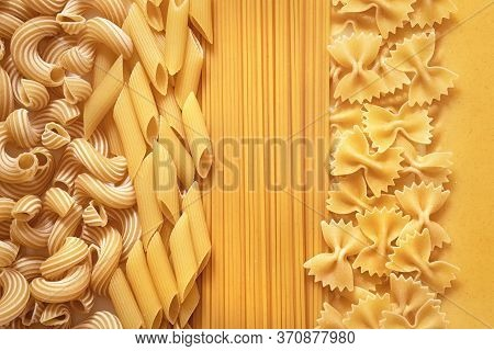 Pasta Background, Several Types Of Pasta Close, Durum Wheat Pasta Collection, Italian Traditional Ra