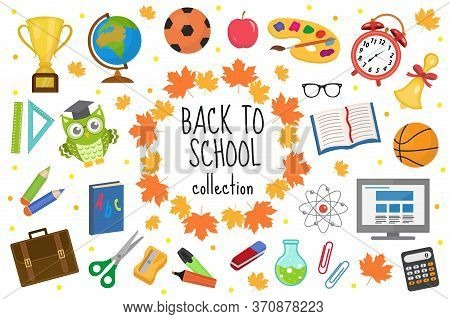 Back To School Icon Set, Flat, Cartoon Style. Education Collection Of Design Elements With Stationer