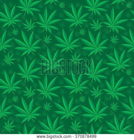 Marijuana Seamless Pattern. Cannabis Is An Endless Texture. Medical Hemp Repeating Background. Illus