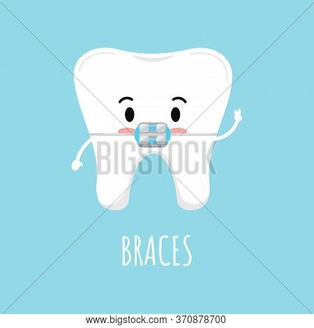 Cute Tooth With Dental Braces Emoji Character. Dental Braces On White Tooth Treatment Concept. Vecto