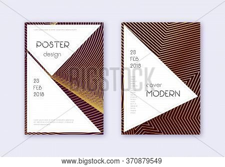 Stylish Cover Design Template Set. Gold Abstract Lines On Maroon Background. Fancy Cover Design. Ast