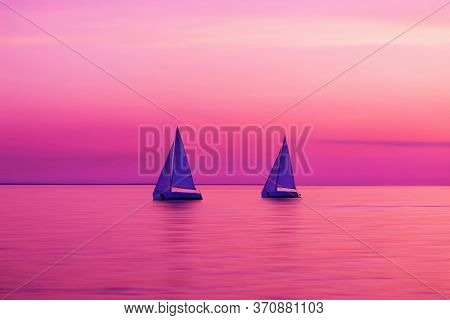 Sailing Boat Yachts In The Sunlight. Sailboats At The Sunset. Luxury Vacation. Summer Adventures. Bl
