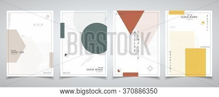 Abstract Minimal Design Of Geometry With Halftone Design Brochure Set. Decorate For Poster, Brochure