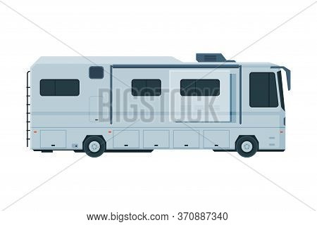 Modern Camping Rv Trailer, Mobile Home For Summer Trip, Family Tourism And Vacation Flat Vector Illu