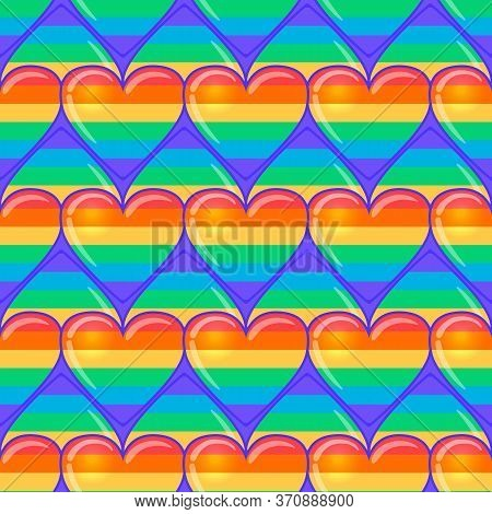 Rainbow Hearts. Gay Pride Flag Colored Colored Hearts Seamless Pattern. Trendy Stylish Texture. Repe