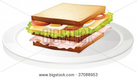 illustration of bread sandwich on a white background