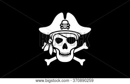 Symbol Jolly Roger. Pirate Flag With White Skull And Bones Isolated On Black Background. Sign Skull