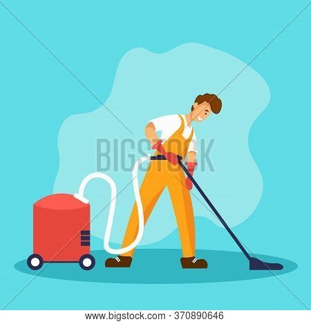 Man In A Yellow Suit Vacuuming With Vacuum Cleaner. Professional Worker Of Cleaning Service Company.