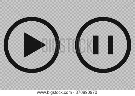 Play Pause Vector Button, Transparent Background. Media Icon.