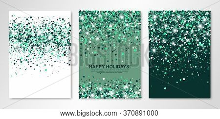 Banners Set Of Three Sheets With Shimmer Emerald Confetti. Vector Flyer Design Templates For Wedding