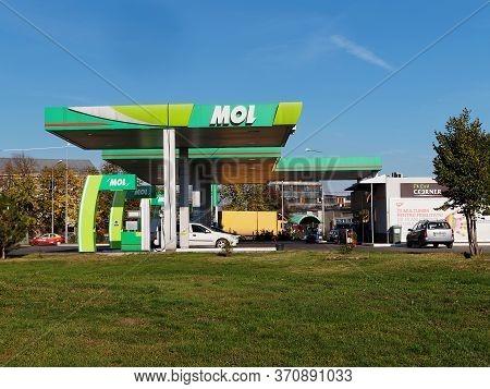 Focsani, Romania - January 2, 2017. Mol Gas Station In Focsani. Mol Is A Hungarian Multinational Oil