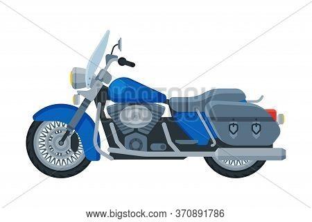 Motorcycle Cruiser, Motor Bike Vehicle, Side View Flat Vector Illustration