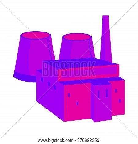 Nuclear Power Plant. Colorful Illustration In A Flat Style. System With Nuclear Reactor And Cooling