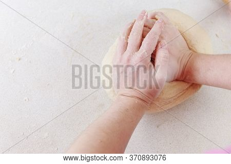 Hands Chef Knead Dough For Pizza. Knead Dough With Your Hands. Womans Hands Knead Dough. Cooking Piz