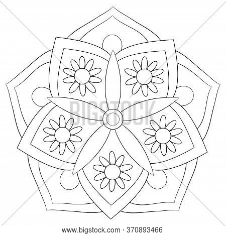 A Cute Zen Mandala  Image For Relaxing Activity.a Coloring Book,page For Children,black And White Im