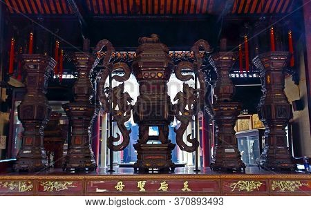 Ho Chi Minh City, Vietnam - March 28, 2019: Ancient Carved Wooden Decorations In Thien Hau Temple 'b