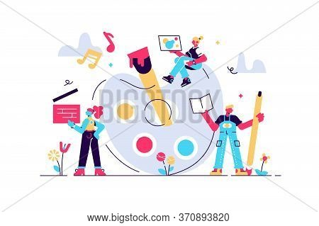 Arts Vector Illustration. Flat Tiny Music, Literature And Painting Persons Concept. Creative Artist