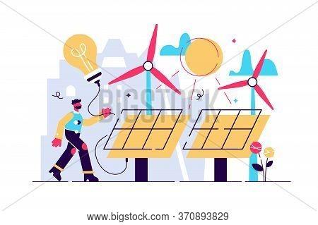 Solar Energy Vector Illustration. Flat Tiny Sustainable Alternative Energy Persons Concept. Renewabl