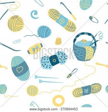 Vector Seamless Pattern With Knitting Tools. Wicker Basket, Ball Of Wool, Yarn, Needles, Stitch Mark