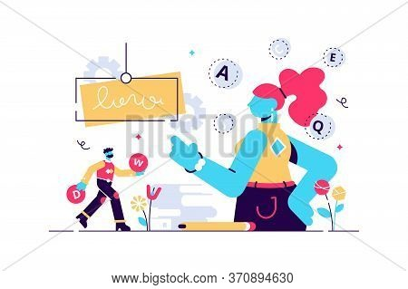 Vocabulary Vector Illustration. Flat Tiny Words Knowledge Persons Concept. Familiar Language Develop