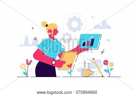 Administrator Vector Illustration. Flat Tiny Paperwork Occupation Person Concept. Office Employee An