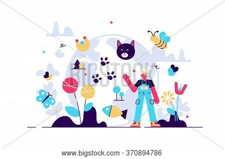 Biodiversity Vector Illustration. Flat Tiny Various Wildlife Persons Concept. Mammals, Birds, Fishes