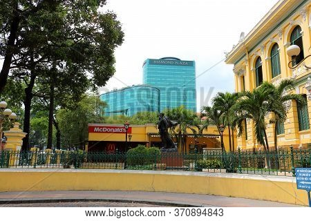 Ho Chi Minh City, Vietnam - March 28, 2019: Saigon Cityscape With Old Central Post Office Building I