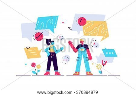 Conversation Vector Illustration. Flat Tiny Talking Bubble Persons Concept. Social Discussion To Exp