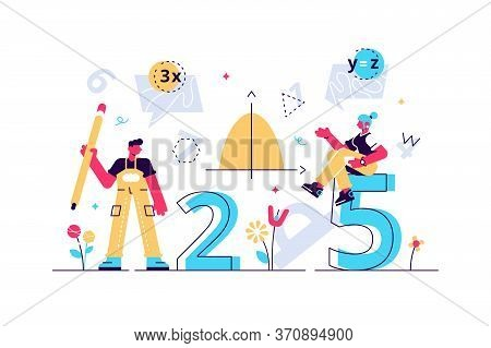 Mathematics Vector Illustration. Flat Mini Persons Education Concept. Algebra Symbols With Geometry