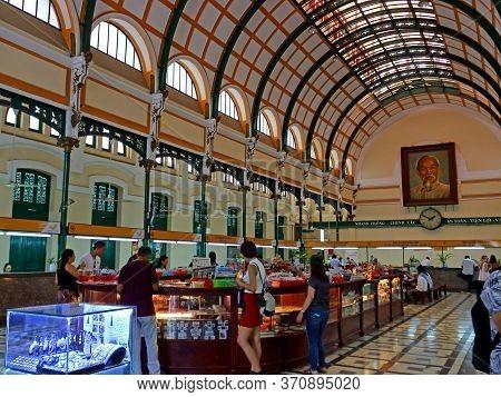 Ho Chi Minh City, Vietnam - March 28, 2019: Interiors Of Central Post Office In Saigon City. Popular