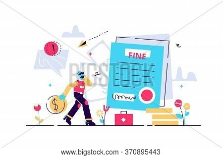 Pay Fine Vector Illustration. Flat Tiny Punishment Document Persons Concept. Municipal Tax Or Parkin
