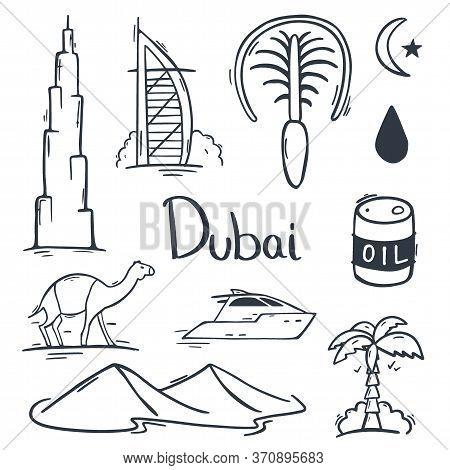 Uae. Travel To Dubai. Hand Draw Doodle Background. Vector Illustration.
