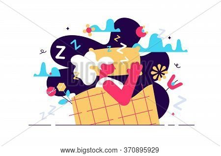 Lucid Dreaming Vector Illustration. Flat Tiny Sleep Control Persons Concept. Abstract Night Alternat