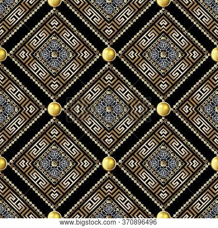 Greek Waffle 3d Vector Seamles Pattern. Geometric Ornamental Waffled Background. Beautiful Modern Gr