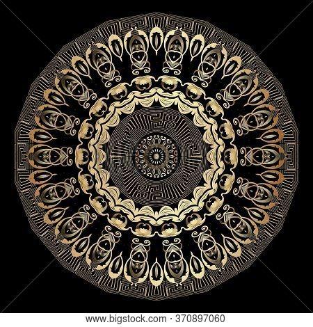 Gold Round Vector Mandala Pattern. Vintage Ornamental Background. Greek Key Meander Circle Frames. F