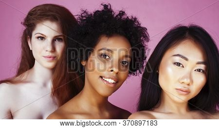 Different Nation Girls With Diversuty In Skin, Hair. Asian, Scandinavian, African American Cheerful