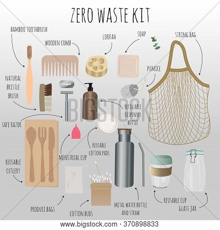 Items That Help Reduce Garbage Production And Reduce The Use Of Plastic. Eco Friendly Recycle And Re